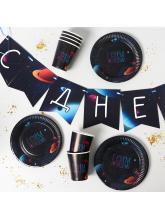 Набор бумажной посуды «Космический мир», 6 тарелок, 6 стаканов, 1 гирлянда