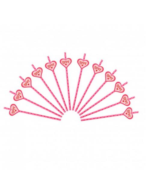 Трубочки для коктейля (розовые  в горох)