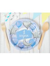 """Тарелка """"1 годик"""" (звезды, шарики) голубая - 10 шт"""