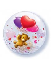 Сфера 50 см Мишка плюшевый с шарами
