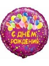 Круг, С Днем рождения (шарики)  фуше