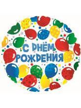 Круг С Днем рождения разноцветные шары