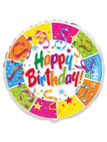 """Круг """"Happy Birthday"""" ленты и звезды"""