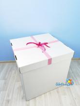 Коробка для шаров без надписи с бантом 70х70х70 см