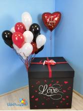 "Коробка-сюрприз черная с шарами ""Пламенная любовь"" (70х70х70см)"