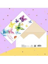 Конверт для денег «С днем рождения!» бабочки, 16,5 х 8 см