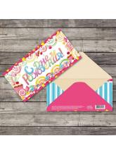Конверт для денег «Чудесного дня рождения» карамельки, 16,5 х 8 см