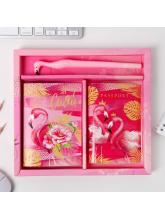 """Набор обложка на паспорт, блокнот, ручка """"Мечтай и удивляй Фламинго"""""""
