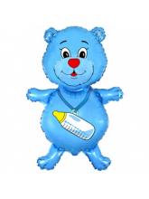 Мишка с бутылочкой голубой