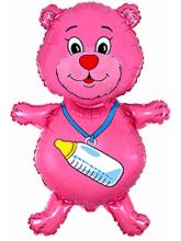 Мишка с бутылочкой розовый