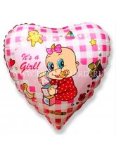 Сердце розовое It's a girl