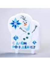 Свеча в торт «С Днём Рождения!», Олаф, Холодное сердце, 75 х 100 мм