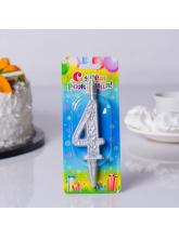 Свеча-цифра 4 (серебряный узор)