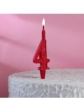 Свеча-цифра 4 (рубиновый узор)