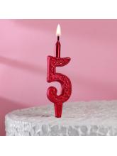 Свеча-цифра 5 (рубиновый узор)