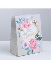 Пакет ламинированный «Цветочное счастье»,  18 × 23 × 10 см