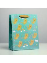 Пакет крафтовый вертикальный «Котята», 18 × 23 × 10 см